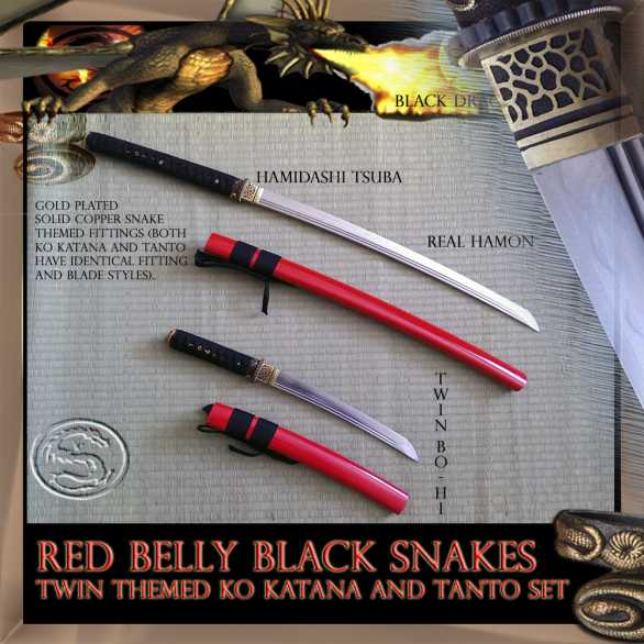 SBG Red Belly Black Snakes - Ko Katana and Tanto Set