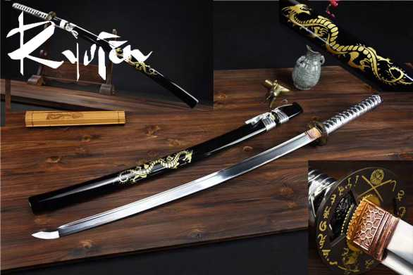 Ryujin 1045 Carbon Steel Gold Dragon Art Sword
