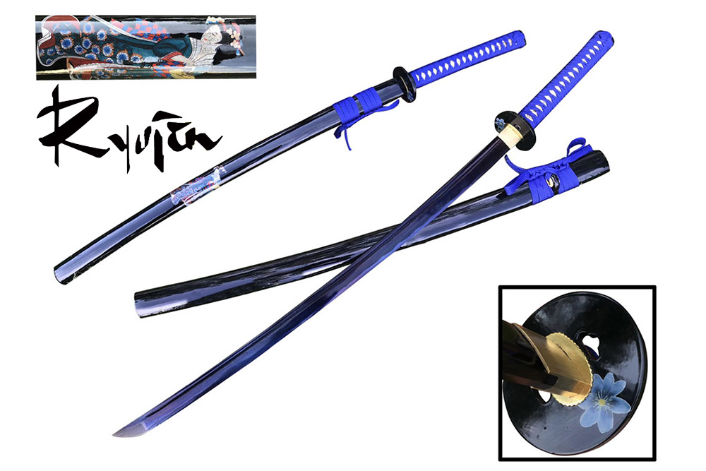 Ryujin 1045 Carbon Steel Blue Geisha Art Sword