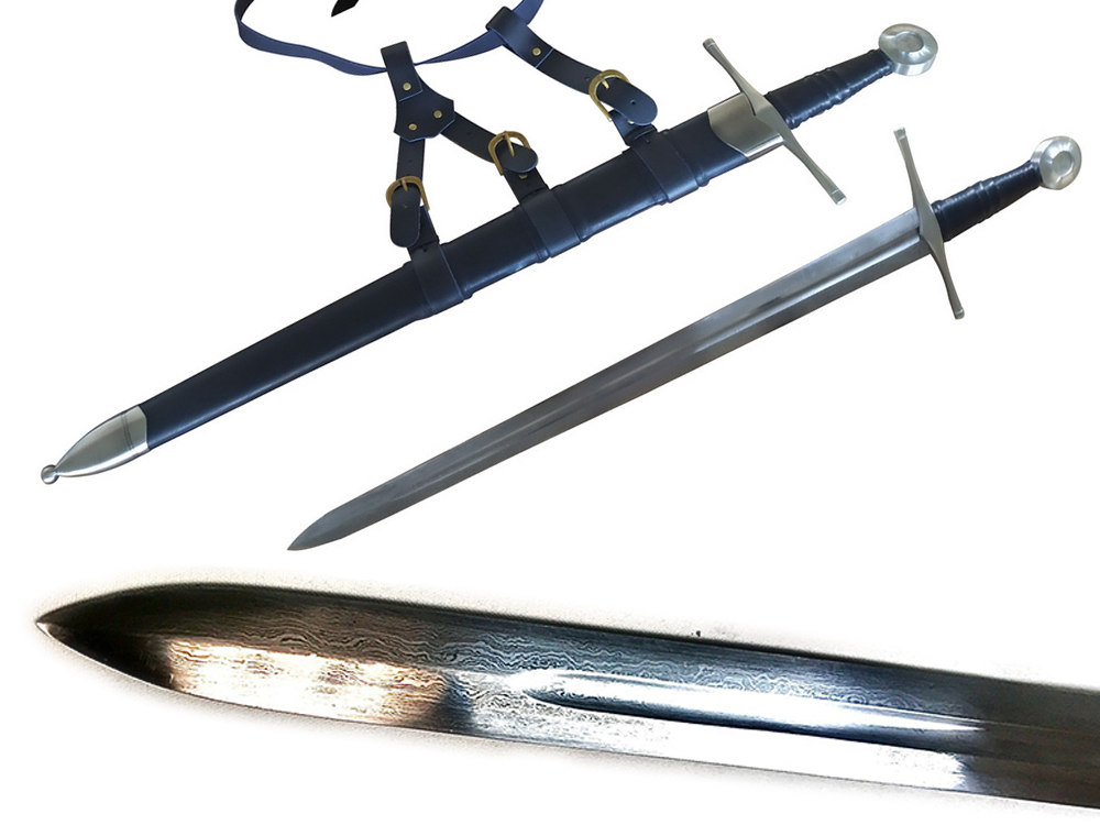 65MN Spring Steel FOLDED 13th Century Knightly Arming Sword