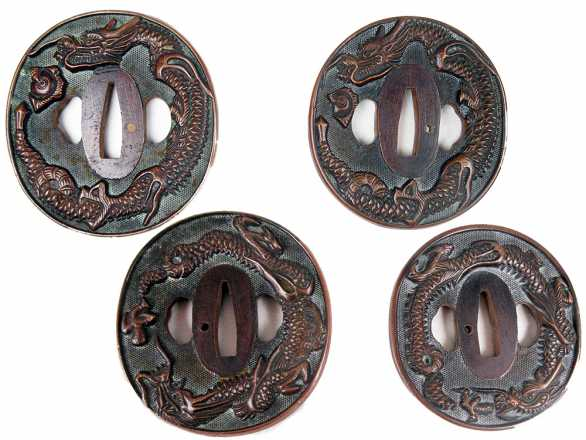 Boj Tsuba #006: Copper Dragon theme Tsuba Set for Daisho