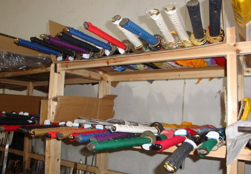 Swords ready on the rack
