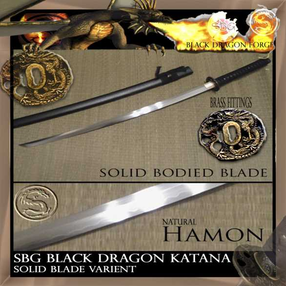 SBG Black Dragon Katana - solid blade