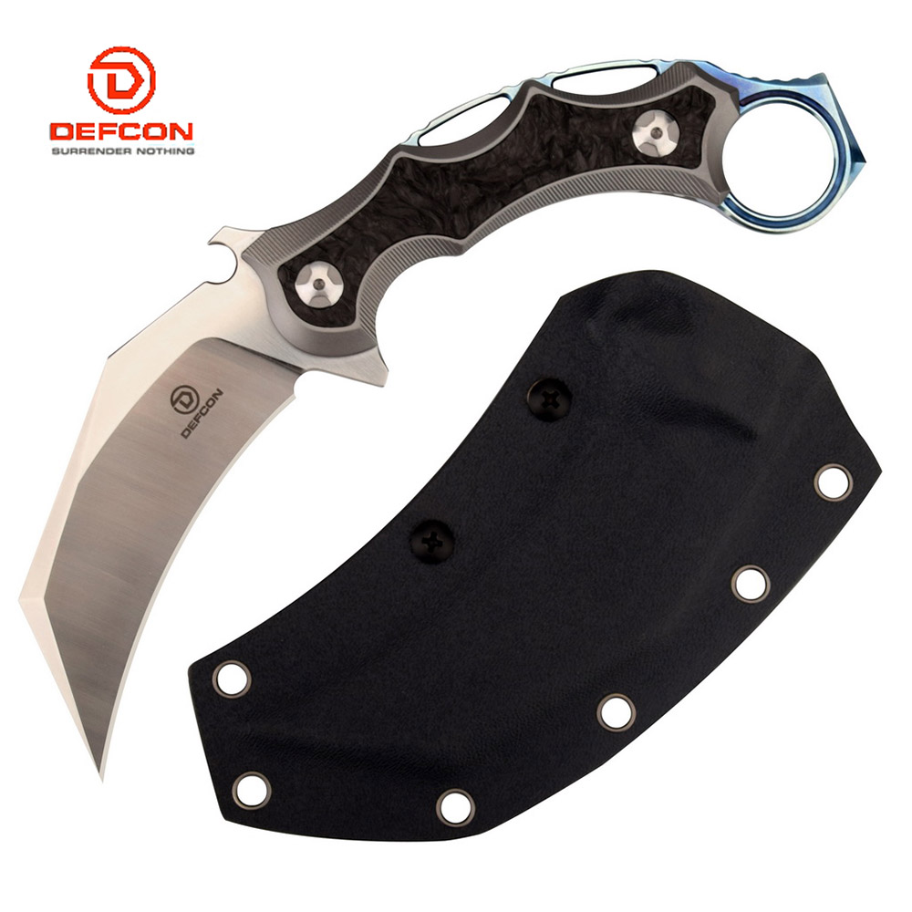 DEFCON 'The Claw' D2 and Titanium Fixed Knife Karambit - Black 1