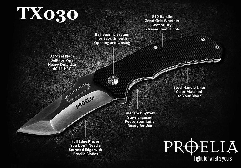 Proelia D2 Steel Tanto Folding Knife 1