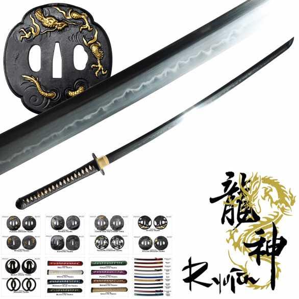 Ryujin T10 Custom Katana - solid bodied blade/no-hi