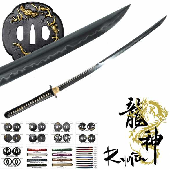 Ryujin T10 Custom Katana - Shobu Zukuri with partial bo-hi