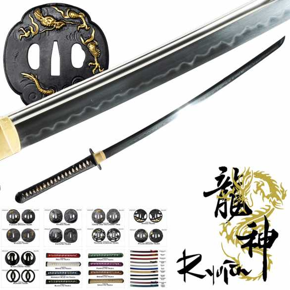 Ryujin T10 Custom Katana - with bo-hi