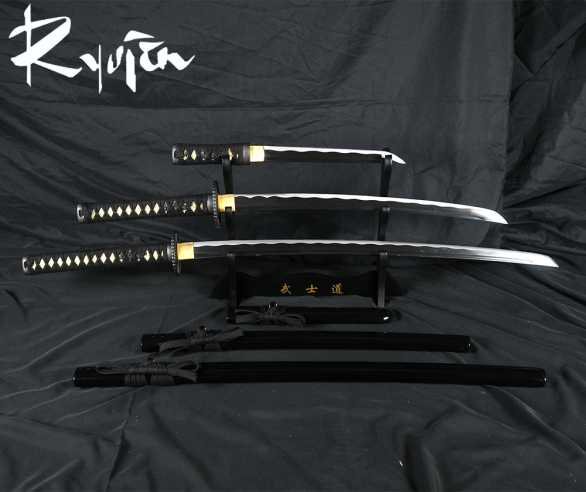 Ryujin 1045 Carbon Steel Samurai Daisho Sword Set - Black Saya