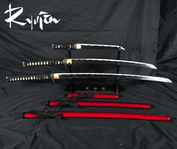Ryujin 1045 Carbon Steel Samurai Daisho Sword Set - Red Saya