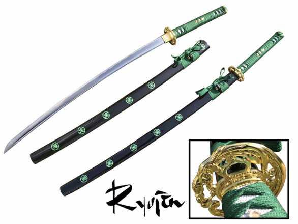 Ryujin 1045 Carbon Steel 'Green Battle Dragon' Art Sword